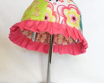Toddler Baby Girl Sun Hat, Child's Reversible Pink Summer Ruffle Hat, Floral Baby Girl Sun Hat, Cruise Clothing, Colorful Cotton Ruffle Cap