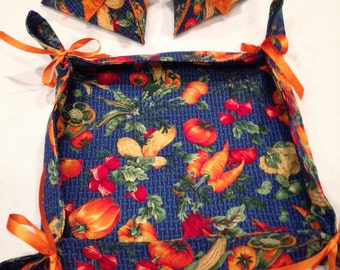 Pretty Fabric Autumn Organizer Trays, Food Gift Trays, Desk Accessory Holder, Gift Candy Holder, Pen Pencil Holder, Holiday Decorations