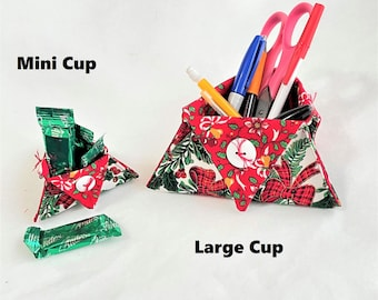 Ribbons and Holly Christmas Food and Organizer Triangle Cups, Holiday Gifts, Desk Accessory Holder, Candy Holder, Pen and Pencil Holder