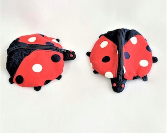 Zippy Zoo Unique LadyBug Shaped Small Zipper Pouches, Coin Pretty Purse, Knitting/Crochet Project Accessory pouch, Child's Little Toys Bags