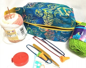 Beautiful Teal Tropical Fish Box Bags, Travel, Cosmetic or Toiletry Bag, Teal Tropical Knitting/Crochet Project Box Bag, Child's Toy Bag