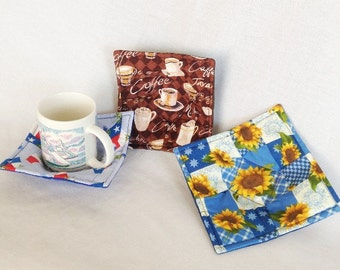 Coffee Cup, Sunflower and Texas Flags Small Microwaveable Bowl and Cup Hot pads, Microwave Safe Cup Hot Pads, Hot Chocolate Cup Hot Pad
