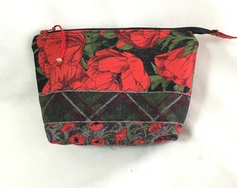 Quilted Red and Black Floral Cosmetic Pouch, Wedge Zipper pouch, Extended zipper openpouch, Knitting Accessory Pouch, Travel Zipper Pouch
