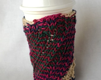 Green Burgundy Blue Knit Ecru Hot Cold Drink Cozy, Large Cup Cozie, Water Bottle Cozy, Smoothie Cup Cozy, NutriBullet Cozy