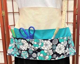 Practical Teal  Black Floral Crafters Apron, 7 Big Pocket Apron, Craft Show Money Supplies Apron, Housework Adult Apron, Teachers Work Apron