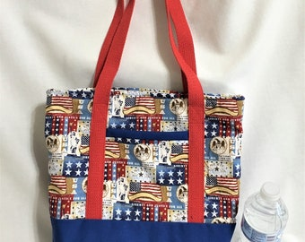 USA Patriotic Tote Bag, Beach or Travel Tote, Knit/ Crochet Project Bag, iPad with Accessory Tote, Sturdy Canvas Carryall, Beach Tote Bag