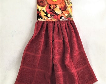 Fall Flower Button Hanging Towel Topper, Autumn Birds Topper, Kitchen Hand Towel Topper, Hanging Kitchen Decorative Towel, Hostess Gift