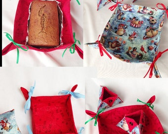 Holiday Fabrics, Christmas Food or Organizer Trays, Desk Accessory Holder, Candy Holder, Pen and Pencil Holder