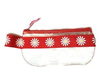 Large Red with White Daisy Flowers Satin Ribbon Clear Vinyl Zipper pouch, Cosmetic, Accessory, Pencil Pouch
