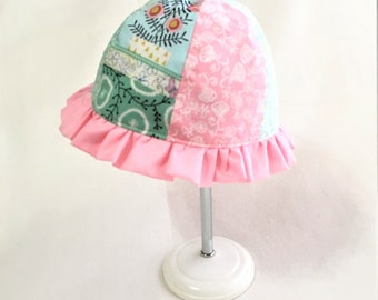 Reversible Handmade Sunny Day Toddler or Baby Hat, Pink Ruffle Small Girl Hat, Child's Reversible Summer Ruffle Hat, Floral Baby Sun Hat