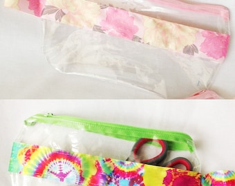 Bright Tye-Dye and Pink Floral Satin Ribbon Clear Vinyl Zipper pouch, Cosmetic, Accessory, Pencil Pouch