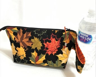 Autumn Leaves Pouch, Orange and Black Wedge Zipper pouch,  Orange Yellow Green Flowers in Black, Knit Project Zipper Pouch