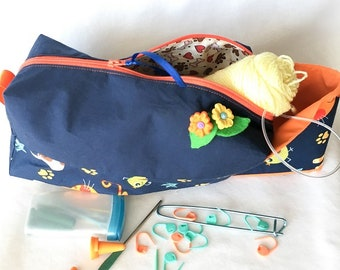 Two Fabric Navy and Orange Dogs and Cats Fabric Box Bag, Knitting/Crochet Project Bag, Travel, Cosmetic Pouch, Electronics Accessories Pouch