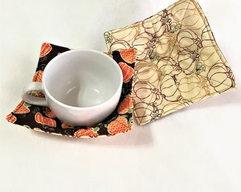 Pumpkins Print Microwaveable Bowl Hot Pad, Quilted kitchen hot pads, Oatmeal, Chili, Soup Stew Bowl Hot Pad, Microwaveable, Autumn soup pads