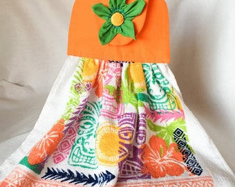 Hanging Orange Floral Towel with Green Fabric Flower and Button Kitchen Towel Topper, Hanging Kitchen Decorative Towel, Hostess Gift Towels