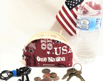 Patriotic USA Small Curved Zipper pouch, Fabric Cosmetic Pouch, One Nation Coin Purse, Knit / Crochet Accessory Pouch, Cosmetic Curved Pouch