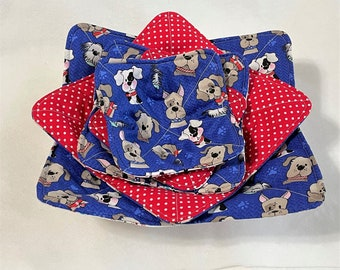 Sweet Puppies Handmade Microwaveable Bowl Cozies, Dogs Quilted kitchen hot pads, Cocoa, Soup Stew Bowl Hot Pad Microwaveable, Pie Casserole