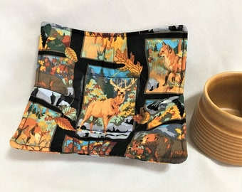 Deer and Other Forest Animals Quilted Microwave Cup Hot Pads, Handmade  Kitchen Hot Pads, Small Soup Cup Hot Pads, Microwave Safe Cooking