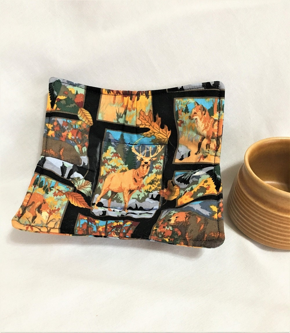 deer and other forest animals microwaveable cup hot pads handmade cotton kitchen hot pads small soup bowl hot pads microwave safe cooking - Kitchen Hot Pads