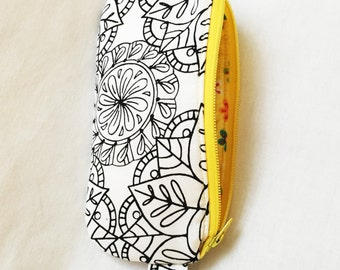 Medium Pencil Pouch, U-Color Yellow or Purple Zipper pouch, Coloring Book Fabric Cosmetic Pouch, Coloring Art Yellow Floral Zipper Pouch