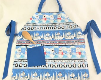 Reversible Child Holiday Polar Bears Full Apron, Plapful Puppies Child Cooking Apron, Craft or Painting Child Aprons, Teal Adjustable Apron