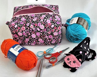 Beautiful Roomy Pink Floral Box Bags, Travel, Cosmetic or Toiletry Bag, Pink Black Knitting/Crochet Project Bag, Child's Toy Bag, Cosmetic