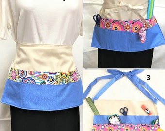 Crafters Apron, Blue Pink Floral Pockets, Teachers, Festival Vendor Money Apron, Craft or Painting Adult Aprons,Gardening Canvas Duck Back