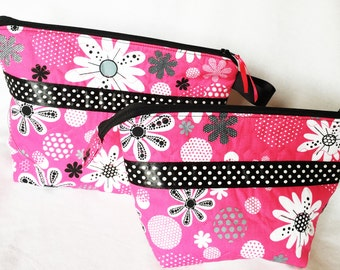 Bright Pink Floral Cosmetic Pouch, Wedge Zipper pouch, Extended zipper opening pouch, Opens Wide Zipper Pouch, Knitting Accessory Pouch