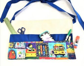 School Themed Big Pocket Apron, Teachers, Festival Vendor Money Apron, Craft or Painting Adult Aprons,Gardening Canvas Duck Back