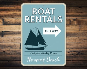 Boat and Motor Rental Vintage Faux Tin Cabin Sign