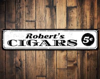 Rustic Vintage Cigars Metal Street Sign