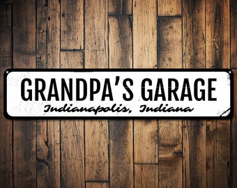 grandpas garage sign gift for mechanic custom garage decor fathers day gift metal garage location sign quality aluminum ens1001530 - Garage Decor