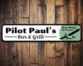 Pilot Bar Grill Sign, Personalized Best Wings in Town Name Sign, Custom Airplane Decor, Restaurant Sign - Quality Aluminum Pilot Decor