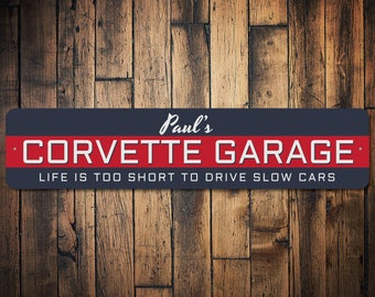 corvette garage gift custom sign for dads corvette sign chevy garage decor chevy car collector gift quality aluminum sign ens1002643 - Garage Decor