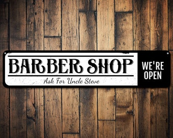 Barber Shop Sign, Personalized We're Open Sign, Custom Hairstylist Sign, Metal Hairdresser Barber Name Decor - Quality Aluminum ENS1001602