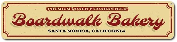 Boardwalk Bakery Rustic Distressed Wood Sign ENS1001345 Custom Beach Location