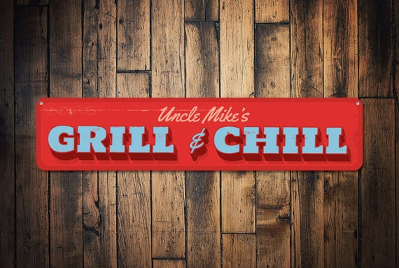 Personalised BBQ Sign Retro Man Cave Home Bar Pub Wooden Family Grill /& Chill
