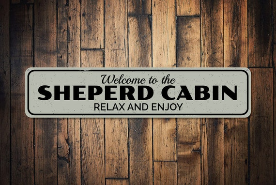 Welcome Cabin Sign Custom Wood Sign Distressed Wooden Sign ENS1001917