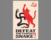 Soviet Cat - Defeat the Fascist Snake Poster