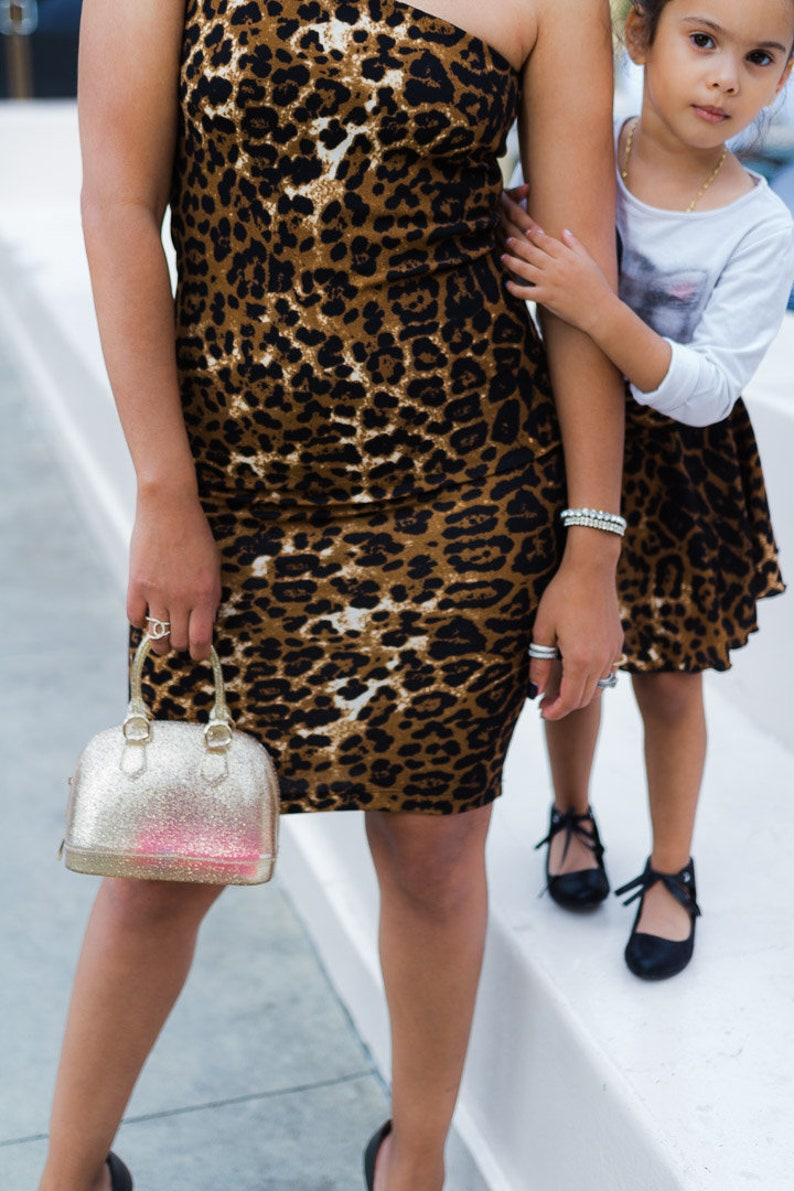 7358dc5b9e Mommy and me matching outfit leopard Print Dress and Skirt