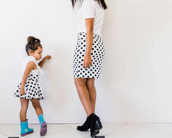 3e4febb91c Mommy and me skirts black and white skirts for mommy and me