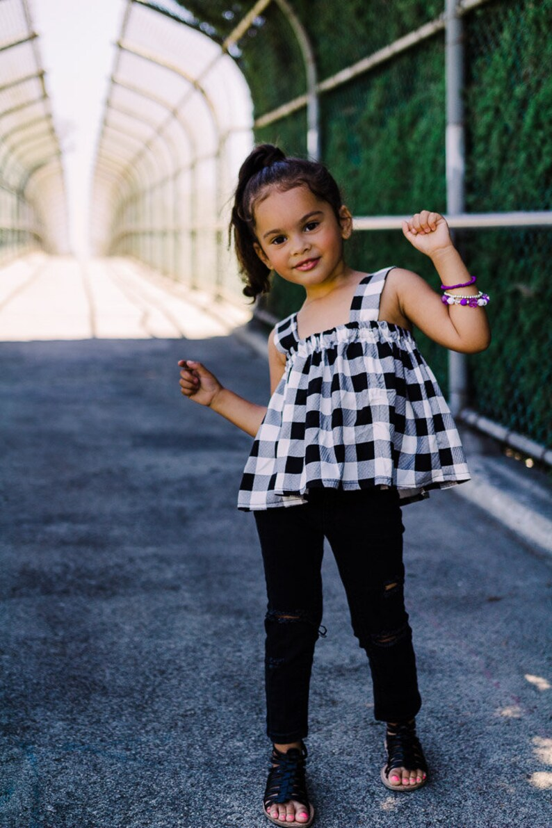 acecce339724 Checker top toddler girl crop top for baby girl black white