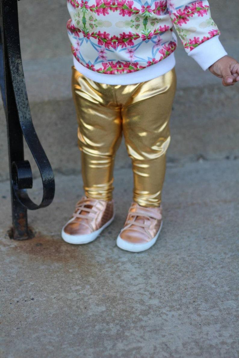57959511cd22e Gold leggings metallic infant leggings unisexbaby boy | Etsy