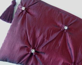 4831120e469 Burgundy clutch, rhinestone clutch, satin clutch, bride purse, bridal clutch,  evening bag, bridesmaid gift, wedding purse, holiday purse