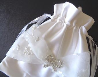 Diamond white drawstring bag, silk purse, bride money bag, money dance bag, brides purse, bridesmaid gift, evening bag, wedding purse,