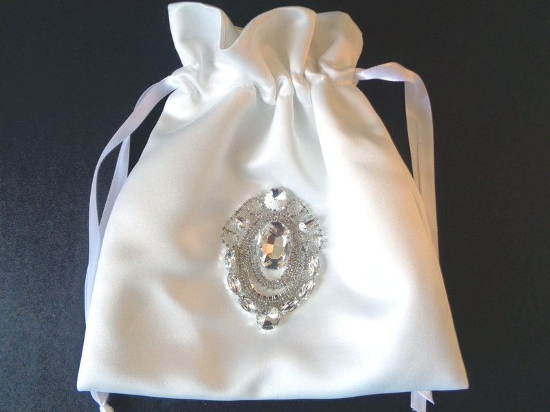 White Money Dance Bag, Dance Bag, Money Bag, Bridesmaid Gift, Bride Purse,  Rhinestone purse, wedding purse, flower girl purse, communion