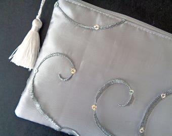 Grey Clutch, Silver Clutch, Wedding Purse, Brides Purse, Bridesmaid Gift, Evening Bag, Bridal Clutch, Sequin purse, Mother's Day, prom