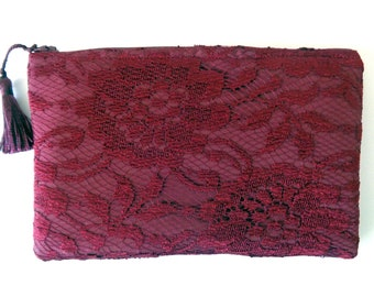 Burgundy Lace Clutch, Burgundy Clutch, Lace Clutch, Brides Purse, Bridal Clutch, Bridesmaid Gift, Evening Bag, Mother's Day, prom