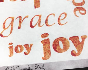 Transparent Bible Journaling Word Stickers ~ Orange Watercolor