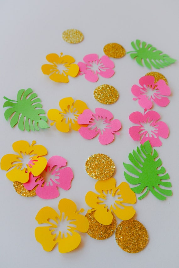 tropical confetti mix hibiscus flower mix bridal shower etsy